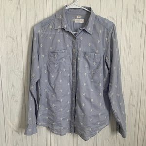 Loft Blue Patterned Softened Button Up Top
